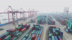 Zhanghuabang Container Terminal with vessel on moorage Stock Footage