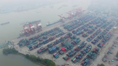 Zhanghuabang Container Terminal on shore of Hanghan river Stock Footage