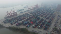 Zhanghuabang Container Terminal near Hanghan river with many ships Stock Footage