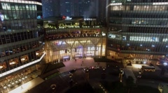 IFC Mall facade with illumination at evening. Aerial view Stock Footage