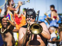 Masked Musician Playing the Trombone at Carnaval Parade, Rio de Janeiro, Brazil Stock Photos