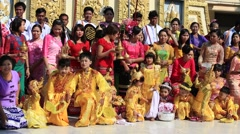 People who participated in the donation channeled ceremony Shinbyu, Myanmar - stock footage