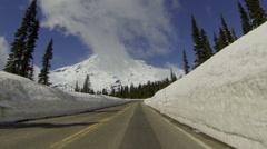 Mt Rainier, Driving, POV Stock Footage