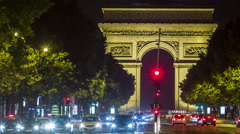 Time Lapse of Etoile Skyline with the Arc de Triomphe Stock Footage