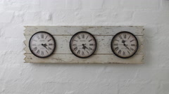How time flies time lapse of three wall travel clocks in different time zones Stock Footage