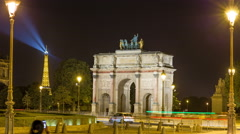 Night Time Lapse of The Triumphal Arch du Carrousel Stock Footage
