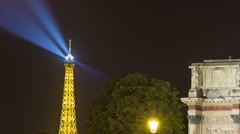 Night Time Lapse of The Triumphal Arch du Carrousel - stock footage