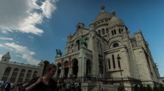 Time Lapse clouds over Sacre Coeur church. Stock Footage