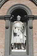 King Charles I of Anjou statue on the facade of the Palazzo Reale Piazza del Stock Photos