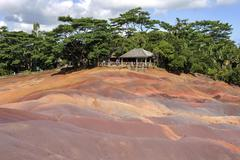 Seven Coloured Earths of Chamarel Chamarel Mauritius Africa - stock photo
