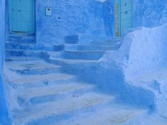 Blue stairs in the Medina the original Arab part of the picturesque town of - stock photo