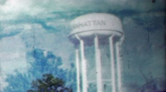 1958: Manhattan watertower double exposure film effect nature. Stock Footage