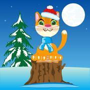 Christmas ginger cat - stock illustration