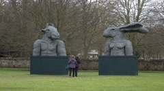 Salisbury Cathedral park wire sculptures tourists 4K Stock Footage