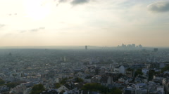 Stock Video Footage of Rooftop and aerial view from Sacre Coeur Basilica. Paris, on evening time