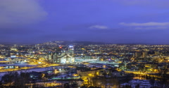 Dawn over the center of Oslo, Norway. Time Lapse Stock Footage