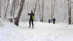 NOVOSIBIRSK, RUSSIA - DECEMBER 24,2015: Skier in winter forest Stock Footage