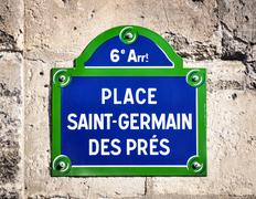 Place Saint-Germain des Pres street sign - stock photo