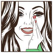 Pop Art illustration of girl - stock illustration