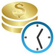 Coins and Time Gradient Vector Icon - stock illustration