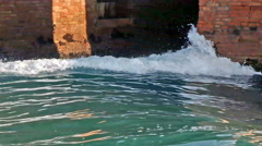 Waves lapping against the walls. Venice, Italy Stock Footage