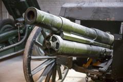 Old soviet military howitzer - stock photo