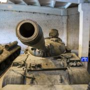 Cannon of russian tank T55 Stock Photos