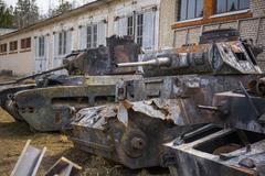 Destroyed german old tanks - stock photo