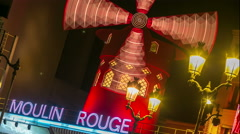 Time lapse of Moulin Rouge building. Stock Footage