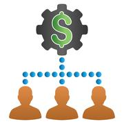 Payout Clients Setup Gradient Vector Icon - stock illustration