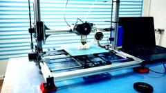 Working 3d printer make plastic box Stock Footage