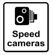 Isolated Speed Cameras Sign - stock illustration