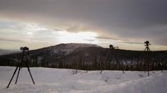 Alaska sunrise, behind-the-scenes multi-cam time-lapse Stock Footage