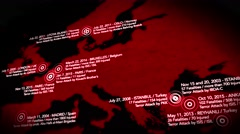 4K Map of Major Terrorist Attacks in Europe between 2000-2016 10 - stock footage