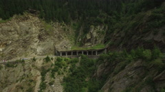Aerial view over a small part of Transfagarasan road, in Fagaras Mountains Stock Footage