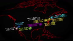 4K Map of Major Terrorist Attacks in the USA between 2000-2016 4 Stock Footage