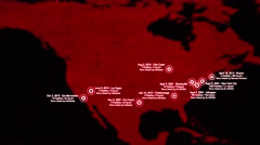 4K Map of Major Terrorist Attacks in the USA between 2000-2016 10 Stock Footage