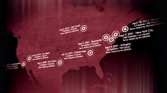 4K Map of Major Terrorist Attacks in the USA between 2000-2016 14 Stock Footage