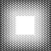 Background with gradient of black and white hexagons - stock illustration