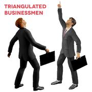 Triangular style isolated businessmen with cases looking up - stock illustration