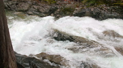Jib Crane Shot of Waterfall in Rocky Forest Riverbed Stock Footage