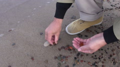 Man collecting amber by the Baltic sea - stock footage
