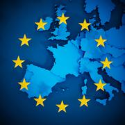 European Union map and aligned stars in circle shape forming a flag Stock Illustration