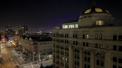 Spotlights and night skies from downtown Los Angeles Stock Footage