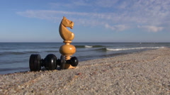 Wooden chess figures by the sea Stock Footage