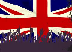 England State Flag with Audience Stock Illustration