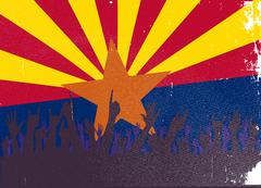 Arizona State Flag with Audience - stock illustration