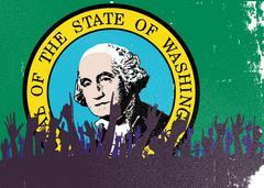 Washington State Flag with Audience Stock Illustration
