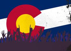 Colorado State Flag with Audience - stock illustration