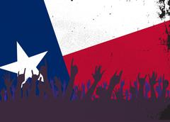 Texas State Flag with Audience - stock illustration